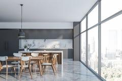 Luksusowego szarego loft kuchenny wnętrze z barem royalty ilustracja