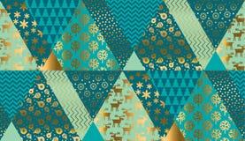 Luksusowego xmas patchworku bezszwowy wzór royalty ilustracja