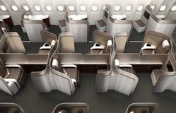 Luksusowej klasy business kabinowy wnętrze z kruszcowym złocistym rozdziałem Zdjęcie Stock