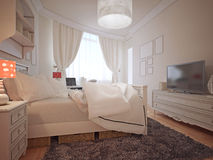 Luksusowej sypialni śródziemnomorski styl Obrazy Royalty Free