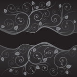 Luksusowi czarni i srebni liście i wirują granicy ilustracja wektor