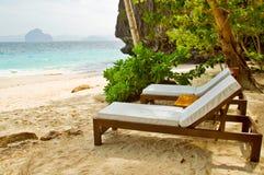 luksusowi plażowi łóżka Obrazy Stock