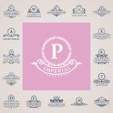 Luksusowi roczników logowie ustawiający Kaligraficzni emblematy i elementy Obraz Stock