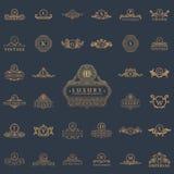 Luksusowi roczników logowie ustawiający Kaligraficzni emblematy i elementy Fotografia Stock