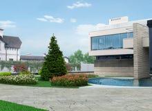 Luksusowi sąsiedztwo architektury projekta pomysły, 3D odpłacają się ilustracji