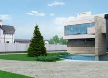 Luksusowi sąsiedztwo architektury projekta pomysły, 3D odpłacają się royalty ilustracja