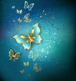 Luksusowi złociści motyle Zdjęcia Royalty Free