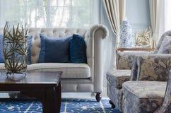 Luksusowy żywy pokój z kanapą na błękita wzoru dywanie w domu Obraz Royalty Free