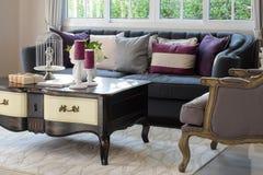 Luksusowy żywy pokój z klasyczną kanapą i karłem Obrazy Royalty Free