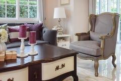 Luksusowy żywy pokój z klasyczną kanapą, karłem i decorami, Zdjęcia Royalty Free
