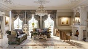Luksusowy barokowy żywy pokój Zdjęcia Stock