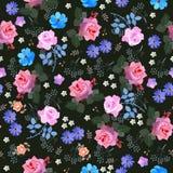 Luksusowy bezszwowy kwiecisty ditsy wzór z różami, dzwon, kwiaty, stokrotka i liście na czarnym tle, kosmosu i parasola, druk ilustracji