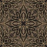Luksusowy bezszwowy wzór z złocisty mandala na czarnym tle ilustracja wektor