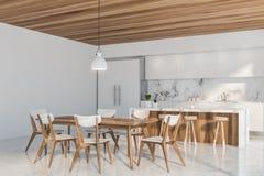 Luksusowy biały kuchnia kąt z barem ilustracji