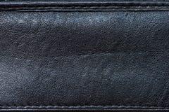 Luksusowy Czarny Rzemienny tekstury tło Fotografia Stock