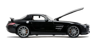 Luksusowy czarny samochodowy boczny widok Obraz Stock