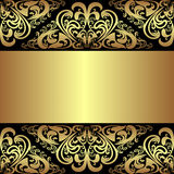 Luksusowy czarny tło z złotymi królewskimi granicami Zdjęcia Stock