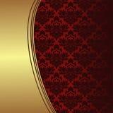 Luksusowy czerwony ornamentacyjny tło z złotą granicą Obrazy Stock
