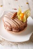 Luksusowy deser: macaroon z czekoladowa śmietanka dekorującym przylądka lepidłem Fotografia Stock