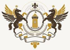 Luksusowy heraldyczny wektorowy emblemata szablon Wektorowy blazon tworzył my ilustracji
