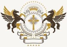 Luksusowy heraldyczny wektorowy emblemata szablon Wektorowy blazon opanowany u royalty ilustracja