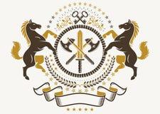 Luksusowy heraldyczny wektorowy emblemata szablon Wektorowy blazon opanowany w ilustracja wektor