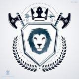 Luksusowy heraldyczny wektorowy szablon Rocznika blazon royalty ilustracja