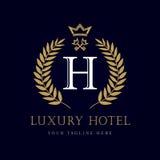 Luksusowy Hotel korona i klucza ` H ` monograma listowy logo ilustracji