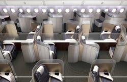 Luksusowy klasy business kabiny wnętrze Each siedzenie dzielący frosted akrylowym rozdziałem Obraz Royalty Free