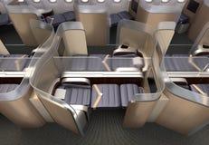 Luksusowy klasy business kabiny wnętrze Each siedzenie dzielący frosted akrylowym rozdziałem Obrazy Royalty Free