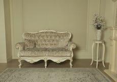 Luksusowy Królewski wnętrze Biały Siedzący pokój Luksusowy Ekskluzywny dom zdjęcia stock