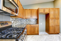 Luksusowy kuchenny pokój z jaskrawymi gabinetami ścienny t brown mozaiką i Obraz Royalty Free