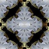Luksusowy kwiecisty 3d grecki wektorowy bezszwowy wzór Barokowego rocznika ornamentacyjny tło Elegancja piękni biali kwiaty, liśc ilustracji
