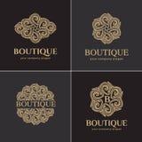 Luksusowy loga set, wektorowy loga szablon Kolekcja logowie dla produktów polecał luksusowych butiki, hotele, kosmetyki, zdrój Zdjęcie Royalty Free