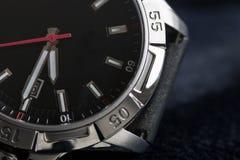 Luksusowy mężczyzna zegarka szczegół, chronografu zamknięty up Obrazy Stock