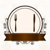 Luksusowy menu z cutlery Zdjęcie Stock