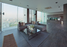 Luksusowy nowożytny żywy izbowy wnętrze i dekoracja, wewnętrzny desi Fotografia Stock