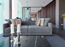 Luksusowy nowożytny żywy izbowy wnętrze i dekoracja, wewnętrzny desi Obrazy Stock