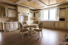 Luksusowy nowożytny dostosowywający kuchenny wnętrze Kuchnia w luksusu domu wi zdjęcie stock