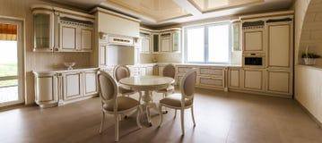 Luksusowy nowożytny dostosowywający kuchenny wnętrze Kuchnia w luksusu domu wi Zdjęcia Royalty Free