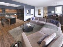 Luksusowy nowożytny pracownianego mieszkania przestronny hol z stubarwnym meble i wystrojem pod wysokimi jaskrawymi okno z TV mag ilustracja wektor