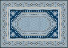 Luksusowy orientalny dywan w błękitnawych brzmieniach z wzorami marynarki wojennej błękit, beż i żółty kolor, ilustracja wektor