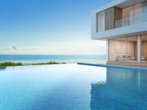 Luksusowy plażowy dom z dennego widoku pływackim basenem w nowożytnym projekcie, Urlopowy dom dla dużej rodziny Zdjęcie Stock
