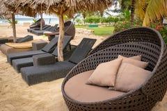 Luksusowy położenie na tropikalnej Karaibskiej białej piasek plaży fotografia stock
