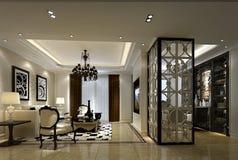 Luksusowy siedzący pokój i nauka w Szanghaj, wysokogatunkowi mieszkania Obraz Stock