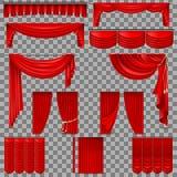 Luksusowy ustawiający czerwone aksamitne jedwabnicze zasłony 10 eps ilustracja wektor
