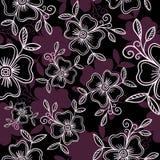 Luksusowy Wektorowy bezszwowy wzór - grafika kwiaty z liśćmi w fiołkowych kolorach zdjęcie royalty free