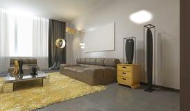 Luksusowy współczesny żywy pokój w palu popielatym, kolorze żółtym i brwi, Zdjęcia Stock