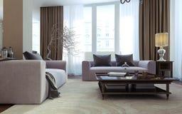 Luksusowy żywy pokój, jadalnia, art deco styl Obrazy Royalty Free