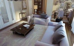Luksusowy żywy pokój, jadalnia, art deco styl Zdjęcie Stock